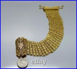 21k Yellow Gold Ladies Wide Mesh Bracelet (1.0 Inch Wide 46.2 Grams)