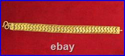 23K Gold Bracelet 11mm Wide Flat Link Sleek