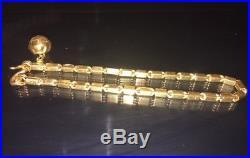 24k Solid Gold, Box Bracelet, 8 Inches, 3.3 MM Wide, Thai Baht Bracelet