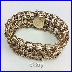 26mm Wide 14k Yellow Gold Charm Style Bracelet