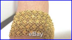 2die4 Estate Vintage Bollywood 18k Yellow Gold Mesh Wide Bracelet 71.8 Gr