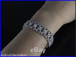 $30000 Vintage Milgrain Looking 18K White Gold 5.10ct Diamond Bracelet 15mm Wide