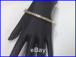 3.5ct champagne diamonds, 14k Gold Hinged Tennis bangle bracelet. 7.5 Wide