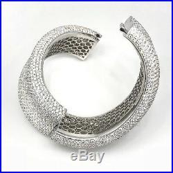 44.68 ct Wide Pave Diamond Bangle Bracelet in 18K White Gold HM1953BR