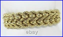 53.4 gr 14 kt Yellow Gold WIDE & Thick Woven Braid Rope BRACELET 7 5/8 A7646