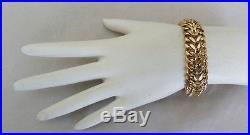 5/8 Wide 14k Gold Double Curb Link Starter Charm Bracelet 7.5 65.7 Grams Heavy
