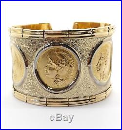 72 Grams Solid 18k Yellow Gold Wide Cuff Bangle Bracelet Queen Face Women Bangle