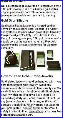 $750 Andiamo Ross Simons 14k Yellow Gold Smth puffy resin 1wide Bangle bracelet