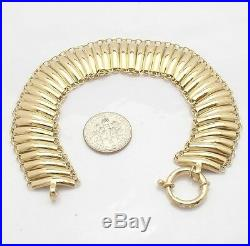 7 1/2 All Shiny Railroad Bracelet Real 14K Yellow Gold 13 grams 3/4 Wide
