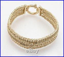 7.25 Triple Row Wide Curb Cuban Link Bracelet Real 14K Yellow Gold QVC