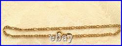 7 Figaro Link Chain Bracelet 14K Gold wide 2mm Solid 2gr VINTAGE