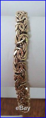 8.2 Gram 14k Yellow Gold 7 1/2 Long X 3/8 Wide Atasay Byzantine Bracelet