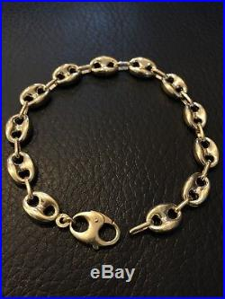 8.5 Mens Puffed Gucci Mariner Bracelet Real 14K Yellow Gold 9.5mm Wide 12 Grams