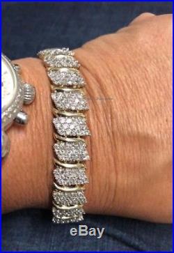 8 Ct Diamond Cluster Wide S-Tennis Line Bracelet Heavy 14k Yellow Gold Over 7