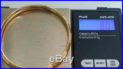 8 Gram 14k Yellow Gold 7 X 6.24 MM Wide Banded Bangle Bracelet