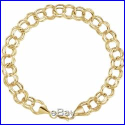 8 Inch 14kt Yellow Gold Double Link Charm Bracelet 5.7mm Wide Lobster Clasp