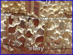 8 NUGGET LINK MEN'S BRACELET 17mm WIDE REAL 14k YELLOW GOLD 44.1g (GP2008887)