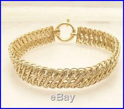 8 Shiny Wide Two Row Railroad Link Bracelet Real 14K Yellow Gold Great Gift