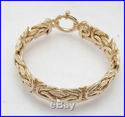 8 Technibond Bold Wide Byzantine Link Bracelet 14K Yellow Gold Clad Silver
