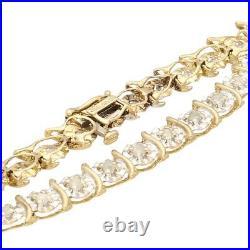 9Carat Yellow Gold 7.25 0.96ct Diamond Illusion Set Tennis Bracelet (6mm Wide)
