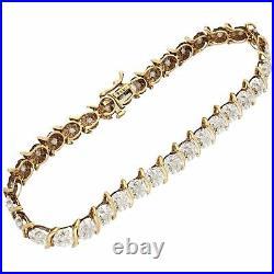 9Carat Yellow Gold 7.25 0.96ct Diamond Tennis Bracelet (5mm Wide)
