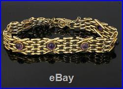 9Carat Yellow Gold 8 Cabochon Amethyst 4 Bar Gate Bracelet 11mm Wide