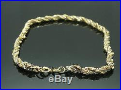 9Carat Yellow & White Gold 8 Rope & Box Link Woven Bracelet (4mm Wide)