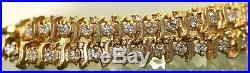 9.00 ct. Diamond Cluster Wide S-Tennis Line Bracelet In 14K Yellow Gold Over 7