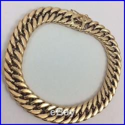 9.5mm Wide 14k Yellow Gold Double Link Bracelet 7.75