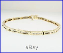 9carat Yellow Gold 7.25 Diamond (1.00ct) Channel Set Tennis Bracelet (4mm Wide)