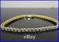 9carat Yellow Gold 7.5 Diamond(0.50ct) Tennis Bracelet (3mm Wide)