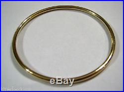 9ct 9kt FULL SOLID Heavy Yellow gold 3mm wide GOLF bangle 65mm inside diameter