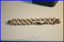 9ct Belcher Style Bracelet 375 Yellow Gold Secure Parrot Clasp-7mm wide- AS NEW