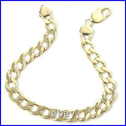 9ct Gold Curb Bracelet Men's Solid 31g Yellow 9.5 Inches Hallmarked 9mm Wide