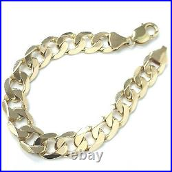 9ct Gold Curb Bracelet Men's Solid Yellow 11.5mm Wide 34.6g 8.5 Inches