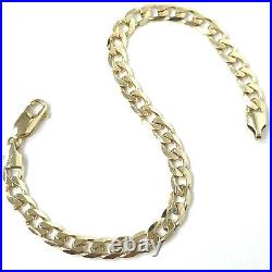 9ct Gold Curb Bracelet Solid Yellow 5.5mm Wide Fully Hallmarked 8.5 Inches