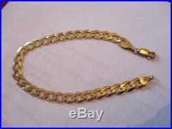 9ct Gold Curb Link Bracelet Chain Length 8 7mm Wide Weight 7.5 gram Not Scrap