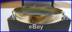 9ct Solid Gold Child's/Baby 5mm Wide Expanding Patterned Bangle 3 grams