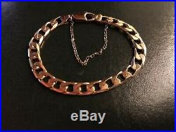9ct Solid Yellow Gold Heavy Solid Wide Flat Link Curb Chain Bracelet 13.61 grams