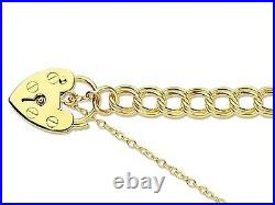 9ct Yellow Gold Curb Charm Bracelet and Padlock 7.5 inch 3.5mm wide 3.4g Weight