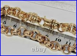 9ct Yellow Gold on Silver Men's Heavy Chunky Belcher Bracelet 11mm Wide