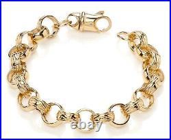 9ct Yellow Gold on Silver Men's Heavy Chunky Belcher Bracelet 12.5mm Wide