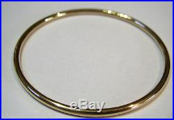 9ct Yellow gold 3mm wide GOLF bangle 65mm inside diameter FREE EXPRESS POST OZ