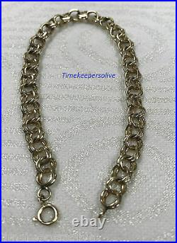 A181 Beautiful 14k Yellow Gold Wide Link Chain 7.25 Charm Bracelet Perfect Gift