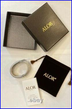 ALOR Womens 18k Yellow Gold Stainless Steal Wide Cable Cuff Bracelet NWT
