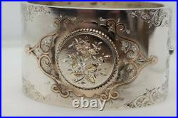 ANTIQUE VICTORIAN ENGLISH SILVER & GOLD FORGET ME NOT FLOWER WIDE BANGLE c1880