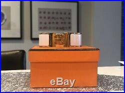 AUTH HERMES Clic Clac WIDE H Bangle Bracelet White Gold Enamel Size PM