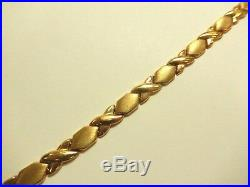Adorable 10k Solid Yellow Gold Kisses Xox 6mm Wide Chain Link Bracelet 7