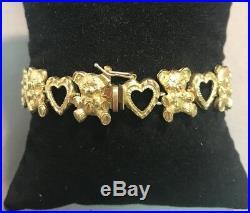 Adorable 14k Yellow Gold Heart/bear Charm Bracelet, 7.5, 10.4mm wide, 17.8g