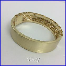 Amazing 18k Yellow Gold 16mm Wide Basket Bangle Bracelet
